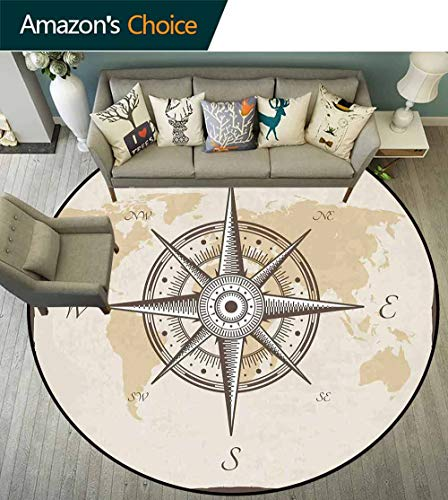 (Compass Round Rug Easy to Clean,Nautical Compass on Background Old Map with Torn Border Frame Illustration Print Stain Resistant & Easy to Clean,Beige Brown,D-79)