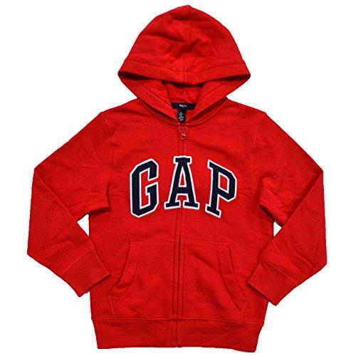 GAP Boys Fleece Arch Logo Zip Up Hoodie (Small, Red) ()