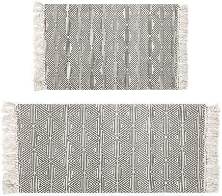 HEBE Cotton Area Rugs SetTassels 2 Pack Printed Hand Woven Washable Rug/Mat Entryway for Bedroom Kitchen Laundry Room Washable 2`x3`+2`x4.2`