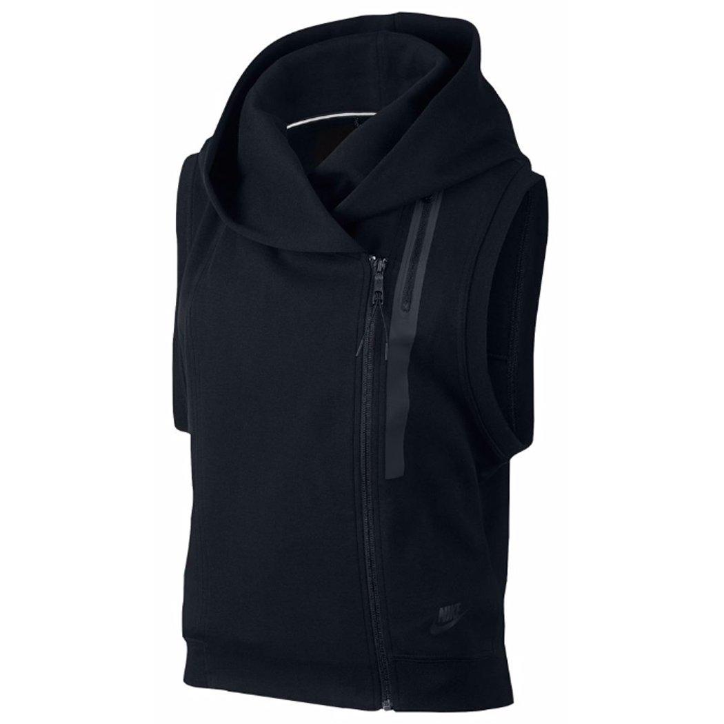 Nike Womens Tech Fleece Vest Hoodie (Large, Black/Black) by Nike