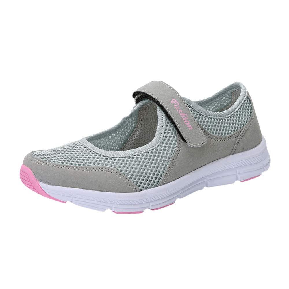 Mymyguoe Zapatos de Mujer Sandalias de Verano Antideslizante Fitness Zapatillas Deportivas para Correr Mujer Planas Zapatos Mujer Tallas Grandes Malla Velcro Deportes Ligeros Zapatos Casuales