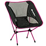 Compact Foldable Beach backpacking Camping Chair Potable Stool Ultra Lightweight Aluminium Alloy Super Comfort Perfect for Sport Outdoor Events, Camping, Fishing, Picnic By Wealers (Pink)