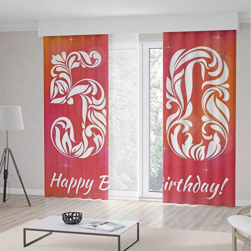 Window Curtains Blackout TT01 50th Birthday Decorations for Bedroom Living Dining Room Kids Youth Room Vibrant Backdrop Stylized Font Floral Swirls 2 Panel Set 118W x 106LInches