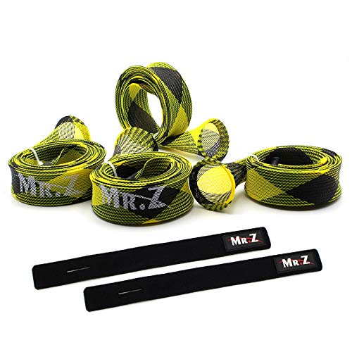 Mr. Z Pack of 4 Casting Fishing Rod Sleeves with 2 Rod Straps Fishing Rod Covers Pole Jacket Rod Socks (Yellow and Black)