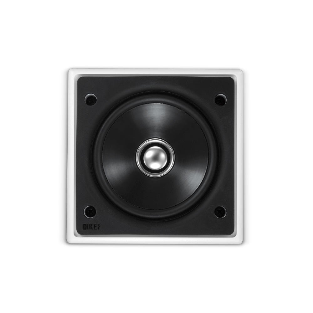 White KEF CI100QS Speaker with 2 Outputs