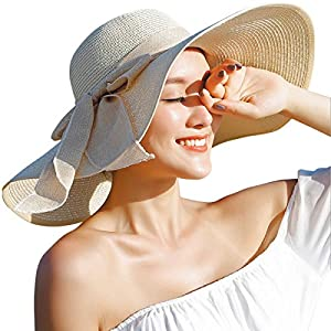 Lanzom Womens Big Bowknot Straw Hat Floppy Foldable Roll up Beach Cap Sun Hat UPF 50+