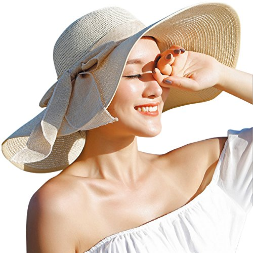 Lanzom Womens Big Bowknot Straw Hat Floppy Foldable Roll up Beach Cap Sun Hat UPF 50+ (Beige, One Size) (Hat Summer)