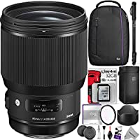 Sigma 85mm f/1.4 DG HSM Art Lens for NIKON F Cameras (321955) w/ Advanced Photo and Travel Bundle
