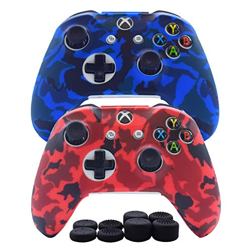 - Hikfly Silicone Gel Controller Cover Skin Protector Kits for Xbox One/Xbox One S/Xbox One X Controller Video Games(2x Controller Camouflage cover with 8 x Thumb Grip Caps)(Blue,Red)