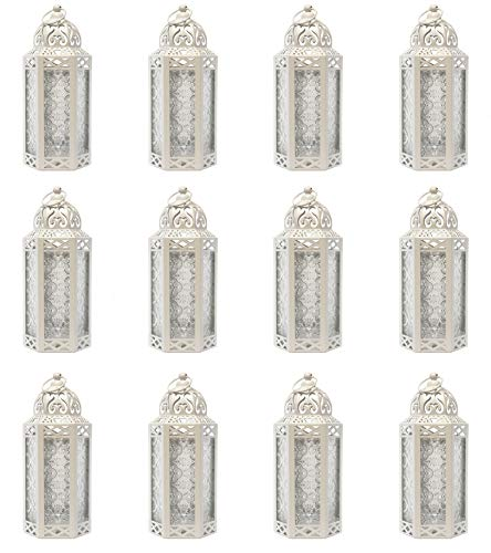 Moroccan Style Candle Lanterns in Bulk (Case of 12, White) -