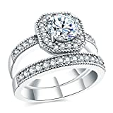 Aokarry Wedding Ring,Silver Plated Fashion Princess Cut Cubic Zirconia Wedding Bands for Womens Size 8