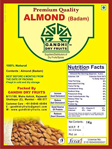 Gandhi Dry Fruits Almonds Badam 1 Kg Plain Raw Premium Quality Running Quality Amazon In Grocery Gourmet Foods