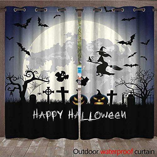 RenteriaDecor Outdoor Curtain for Patio Halloween Illustration with Tomb and Bats W72 x L108 -