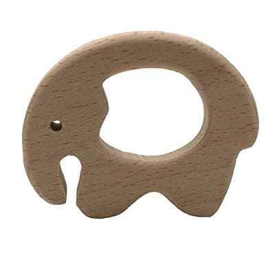 LIUCM DIY Animal Small Elephant Decoration Molar Safe Wood Baby Teether Toy: Toys & Games