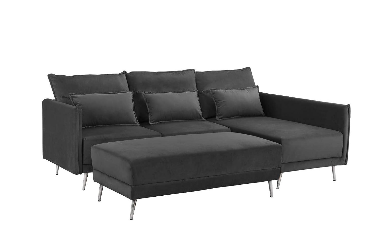 Upholstered 88.1 inch Velvet Sectional Sofa, L-Shape Couch with Rectangular Ottoman Dark Grey