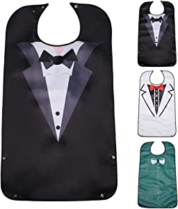 Lopton Adult Bibs for Eating,Bow Tie Pattern-Washable and Reusable Clothing Protectors for Elderly Men(3 Pcs)