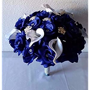 Royal Blue Rhinestone Rose Calla Lily Brooch Bridal Wedding Bouquet & Boutonniere 22