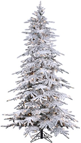 7.5' Flocked Bavarian Pine, Pre-Lit Artificial White Christmas Tree, 600 Clear Lights Stay on if Bulb Burns Out! Fresh Snowfall Look and 1,278 Tree Tips, Zippered Storage Bag, Top Designer Choice (Trees Flocked Xmas)
