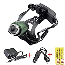 Minsk CREE XM-L T6 LED Zoom Headlamp 3000Lm Torch light Head lamp Rechargeable (included 2 x 5000mAh 18650 Battery + charger + Car Charger)(Green)
