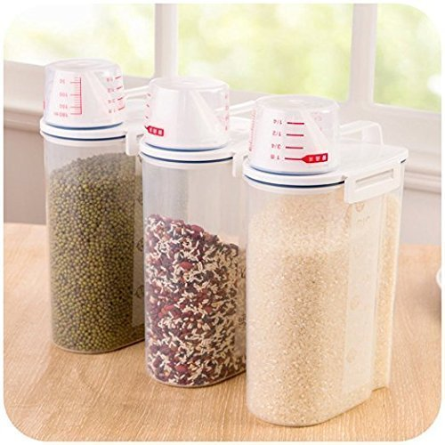 Pinovk 2KG Portable Plastic Food Grain Cereal Flour Storage Box Dispenser Rice Container Sealed Tank with Measuring Cup