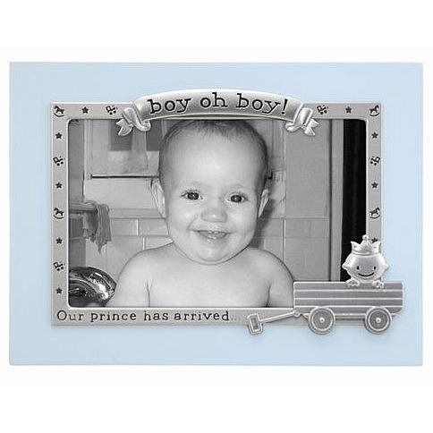 Malden International Designs Boy Oh Boy Juvenile Blue with Silver Metal Border Picture Frame, 4x6, Blue