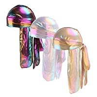 Fenleo Holographic Laser Silky Long Tail 360,540,720 Waves Durag Bandana Turban (3-Pack)