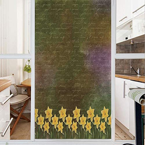 Decorative Window Film,No Glue Frosted Privacy Film,Stained Glass Door Film,Bunch of Potted Daffodils under Calligraphy Lettering Featured Flower of Spring,for Home & Office,23.6In. by 35.4In Brown Ye