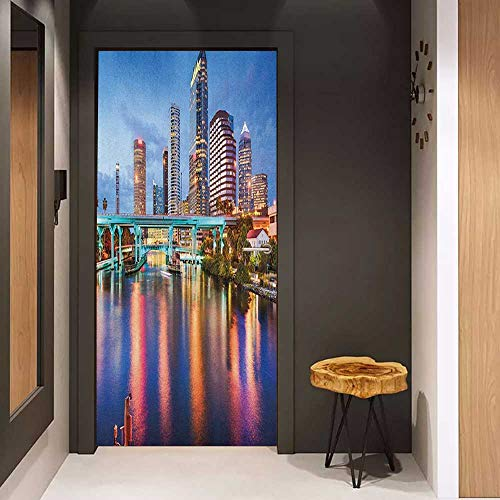 Onefzc Glass Door Sticker Decals City Hillsborough River Tampa Florida USA Downtown Idyllic Evening at Business District Door Mural Free Sticker W30 x H80 Multicolor