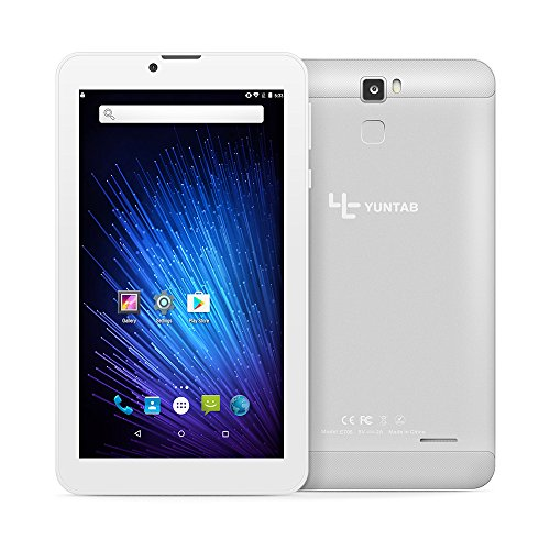 Yuntab 7 inch Android 6.0 3G Tablet pc Alloy Metal back Unlocked Smartphone Quad Core IPS 1024x600 Screen 1GB+8GB MID Phablet Pad 2800Mha with WIFI, GPS and Bluetooth Dual Camera (Silver) (Unlocked Cpu Core Six)
