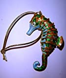 The Orchid Gallery Cloisonné Seahorse Christmas Tree Ornament - Blue/Green