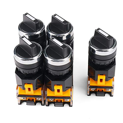 Rotary Switch 2 Positions Select Knob Waterproof Latching Rotary Selector Switch 5 Piece