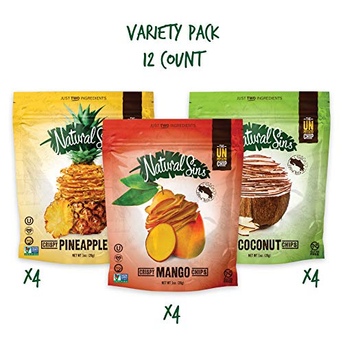 Natural Sins Variety Pack of Baked Mango, Pineapple and Coconut Chips | 1 Ounce Bag (Pack of 12) | Vegan, Gluten-Free, Paleo, Crispy + Thin, Dried Fruit Snack Food ()