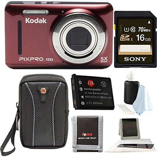 Kodak PIXPRO Friendly Zoom FZ53 (Red) (Premium Bundle)
