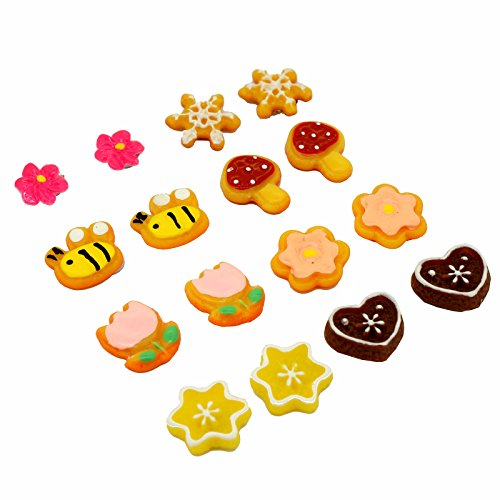 (Pack of 8 Color Cute Fashion Mangnetic Stud Earrings for Girls Kids Women)
