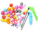 Ballmie Pet Cat Toys Variety Pack 30 Units,Interactive toys for cats, Kitten toys, best cat toys for exercise, cat toy teaser wand, your own cat toys …