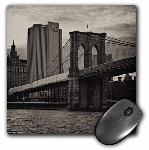 3dRose LLC 8 x 8 x 0.25 Inches Mouse Pad, Brooklyn Bridge East River Part of Nyc Skyline in Sepia (mp_98343_1)