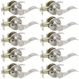 Gobrico Satin Nickle Keyless Wave Lever Handle Passage Door Lockset for Hall and Closet 10Pack