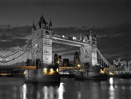 Tower Bridge London Canvas Blue Night Sky Panorama Wall Art Picture Home Decor