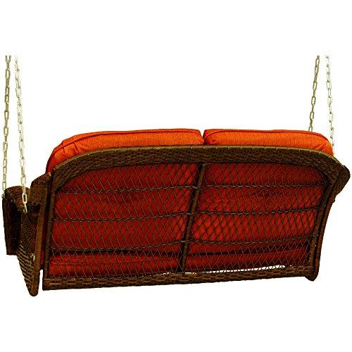 Better Homes and Garden Azalea Ridge Relax Carefree Comfortable Seat Powder Coating Steel Frame Polyester Fabrics Cushion Outdoor Wicker Swings, 2 Seats , Orange Brown