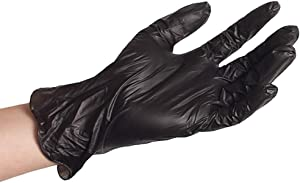 ForPro Black Powder-Free Vinyl Gloves, Industrial Grade, Latex-Free, Non-Sterile, Food Safe, 2.75 Mil. Palm, 3.9 Mil. Fingers, Large, 100-Count