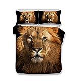 Helengili 3D Digital Printing Bedding Set Lion Leo Bedding Bedclothes Duvet Cover Sets Bedlinen 100 Percent Microfiber Present ,King