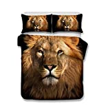 Helengili 3D Digital Printing Bedding Set Lion Leo Bedding Bedclothes Duvet Cover Sets Bedlinen 100 Percent Microfiber Present ,Queen