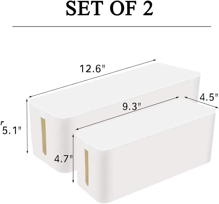 2 Wire Ties Set of 2, White Large Cord Box Organizers to Hold and Hide Power Strip Charger Adapter Power Cord Charging Station USB HUB Set of 2 2 Cable Management Boxes
