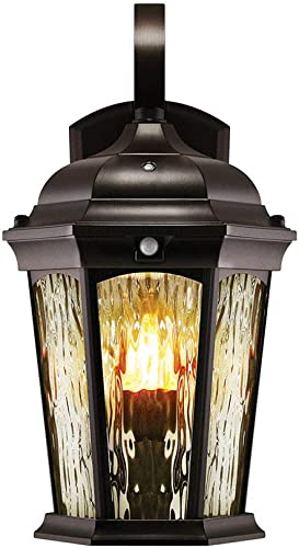 Euri Lighting EFL-130W-MD Flickering Flame Lantern, Water Glass, with Integrated Security Light 3000K , Photocell and Motion-Sensor Dusk-to-Dawn , Oil Rubbed Bronze Housing