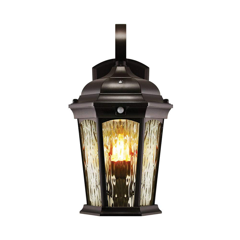 Euri Lighting EFL-130W-MD Flickering Flame Lantern, Water Glass, with Integrated Security Light (3000K), Photocell and Motion-Sensor (Dusk-to-Dawn), Oil Rubbed Bronze Housing