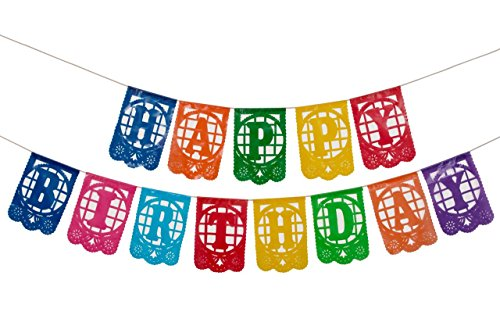 Plastic Mexican Papel Picado Banner  Happy Birthday    Design And Colors As Pictured By Paper Full Of Wishes
