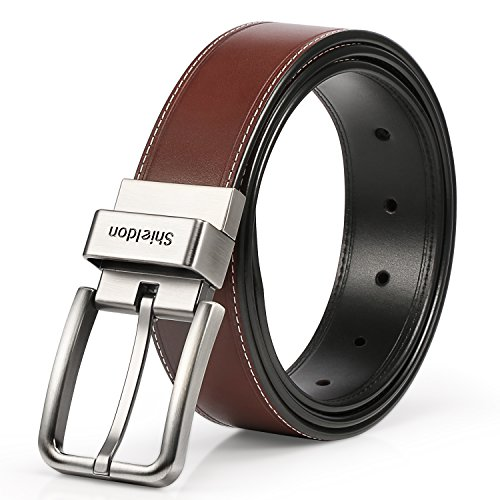 SHIELDON Men's 35MM Genuine Leather Reversible Belt Rotated Buckle - - Leather Belt Genuine