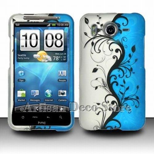 pick up 3c879 143de HTC Inspire 4G Accessory - Blue Silver Black Vines Protective Hard  Rubberized Case Cover Design for AT&T