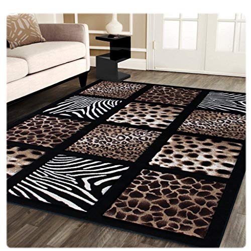 Sculpture Modern Area Rug Animal Prints 5 Ft. 2 In. X 7 Ft. 3 In. Design # S 251 Black