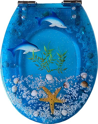 se Close Resin Toilet Seat with Cover, 3D Effects Heavy Duty Toilet Lid with Dolphin, Starfish, Real Seashells and Sands for U/V/O Type Toilet, 16.5 Inches (Crystal Blue) (Transparent Dolphin)